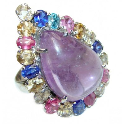 Classy Style genuine Amethyst multicolor Sapphire .925 Sterling Silver handcrafted Ring size 8 3/4