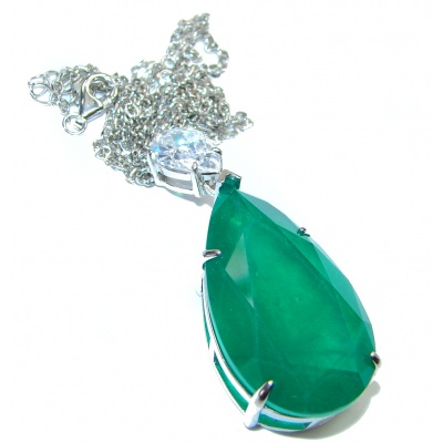 Alessandra Large Emerald .925 Sterling Silver handcrafted Statement necklace
