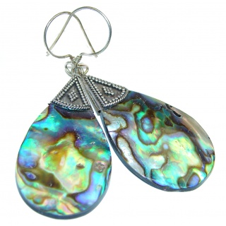 Beauty Diving Rainbow Abalone Sterling Silver earrings