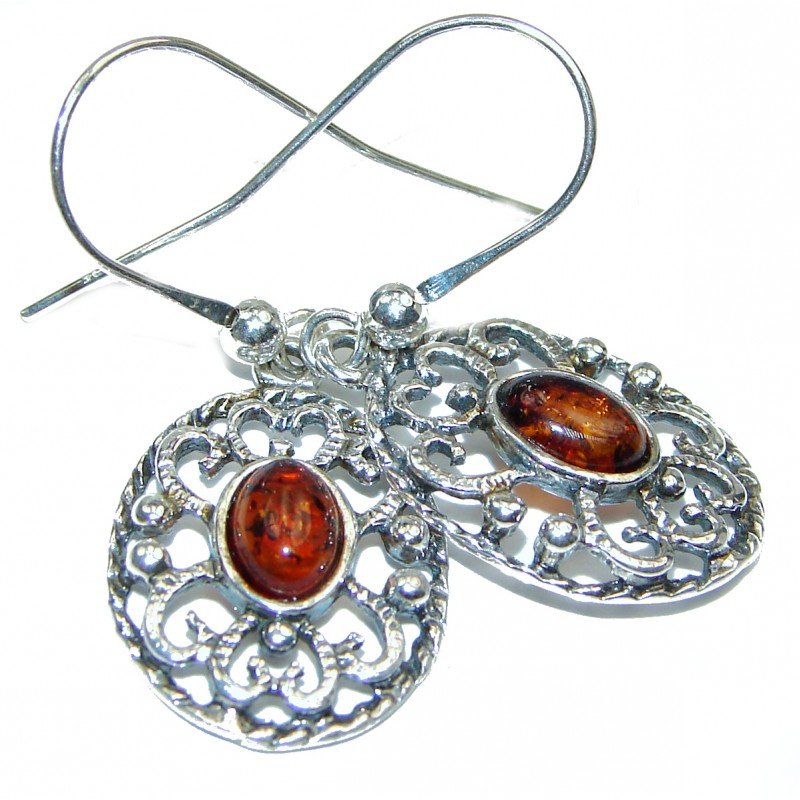 Baltic Polish Amber .925 Sterling Silver earrings
