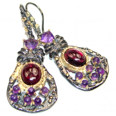 Spectacular Authentic Garnet 14K Gold over .925 Sterling Silver handmade earrings
