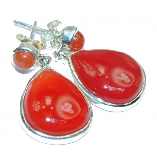 Large Very Unique Carnelian Gold over .925 Sterling Silver handcrafted earrings