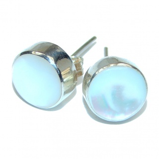 Real Beauty Blister Pearl 10 mm .925 Sterling Silver handmade Earrings