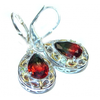 Precious Tourmaline .925 Sterling Silver entirely handmade earrings