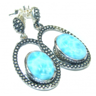 Precious Blue Larimar .925 Sterling Silver handmade earrings