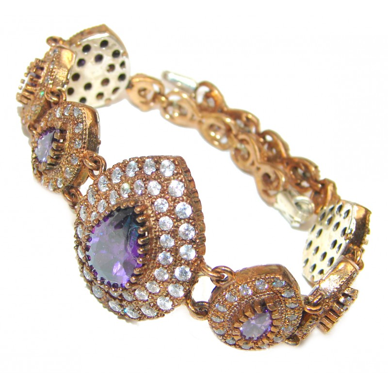 Victorian Style created Amethyst & White Topaz Sterling Silver Bracelet