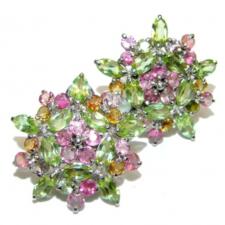 Flower Fields Large Authentic Ruby Sapphire Peridot .925 Sterling Silver handmade earrings
