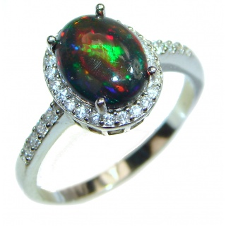 Vintage Design 2.5ctw Genuine Black Opal .925 Sterling Silver handmade Ring size 9
