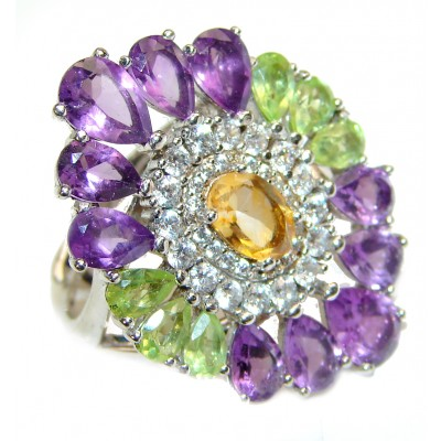 Cocktail Style Natural Citrine Peridot Amethyst .925 Sterling Silver handcrafted Ring s. 8 adjustable