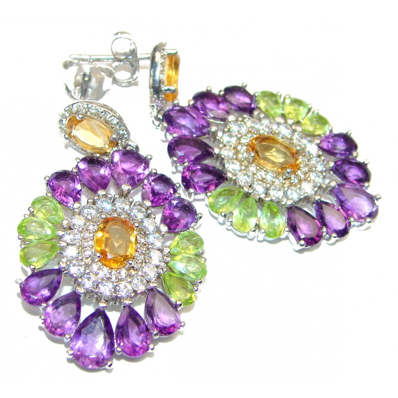Luxurious Style Natural Citrine Peridot Amethys .925 Sterling Silver handmade earrings