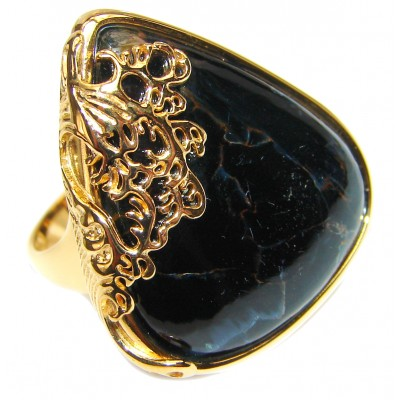 Huge best quality Silky Black Pietersite .925 Sterling Silver handmade Ring size 8 3/4