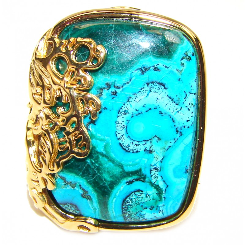 Stone Of Harmony Parrots Wing Chrysocolla 18K Gold over .925 Sterling Silver ring s. 8 3/4