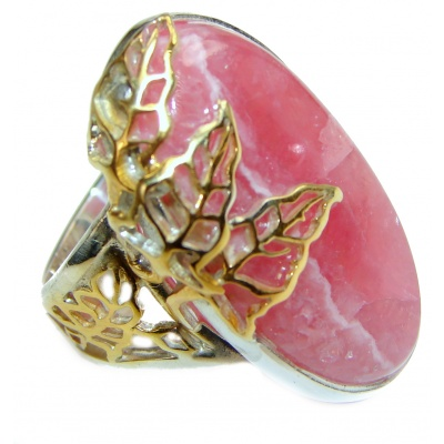 Large Argentinian Rhodochrosite .925 Sterling Silver handmade ring size 8 adjustable