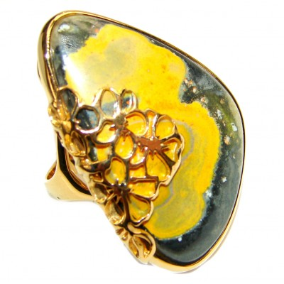 Huge Vivid Beauty Yellow Bumble Bee 18K Gold over .925 Jasper Sterling Silver LARGE ring s. 8 1/2