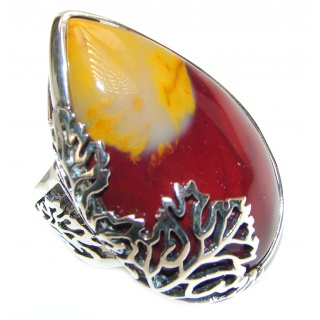 Large Flawless Australian Mookaite .925 Sterling Silver Ring size 8 adjustable