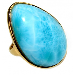 Aqua Natural Dominican Republic Larimar 18K Gold over .925 Sterling Silver handcrafted Ring s. 8 1/4
