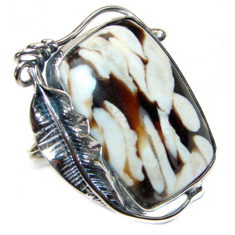 Huge Exotic Petrified Palm Wood Sterling Silver Ring s. 9 adjustable