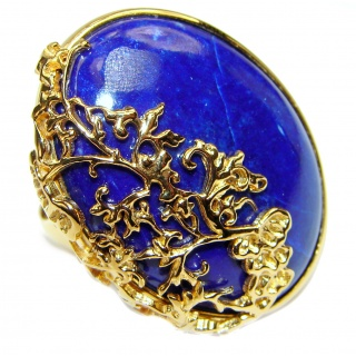 Natural afganian Lapis Lazuli 14K Gold over .925 Sterling Silver handcrafted ring size 8