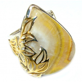 Vivid Beauty Yellow Bumble Bee 2 tones .925 Jasper Sterling Silver ring s. 8 adjustable