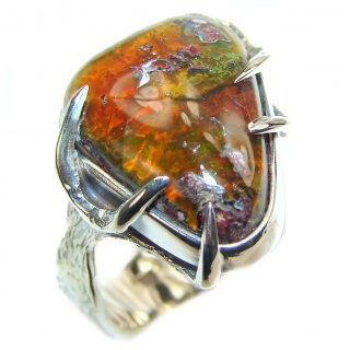 """Magical Aura"" Mexican Opal .925 Sterling Silver handcrafted Ring size 9"