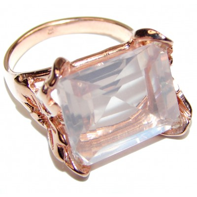 Baguette cut 35ctw Rose Quartz Rose Gold over .925 Sterling Silver brilliantly handcrafted ring s. 7 1/2