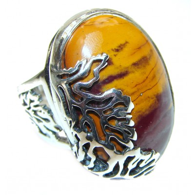 Flawless Australian Mookaite .925 Sterling Silver Ring size 8 adjustable
