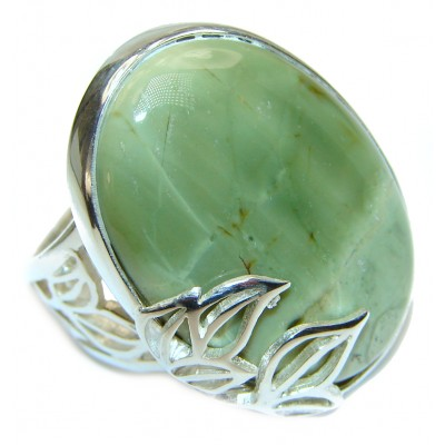 Natural Beauty Green Peruvian Opal .925 Sterling Silver ring s. 8 adjustable