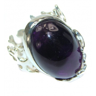 Authentic 25ctw Amethyst .925 Sterling Silver brilliantly handcrafted ring s. 7 adjustable