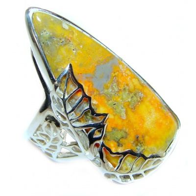 Vivid Beauty Yellow Bumble Bee .925 Jasper Sterling Silver ring s. 8 adjustable