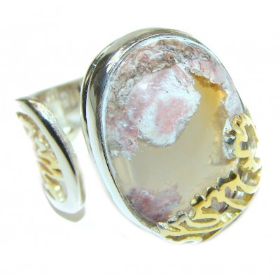 Mexican Opal .925 Sterling Silver handcrafted Ring size 7 adjustable
