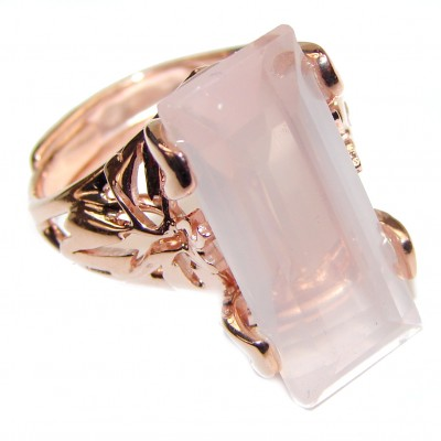 Baguette cut 29ctw Rose Quartz Rose Gold over .925 Sterling Silver brilliantly handcrafted ring s. 8 adjustable