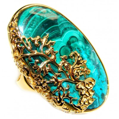 Natural Sublime quality Malachite 14k Gold over .925 Sterling Silver handcrafted ring size 9