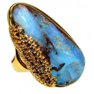 Australian Boulder Opal 18K Gold over .925 Sterling Silver handcrafted ring size 8 1/2