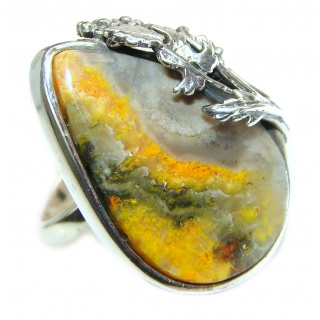Beauty Yellow Bumble Bee .925 Jasper Sterling Silver ring s. 8 adjustable