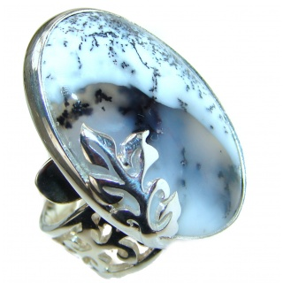 Dendritic Agate .925 Sterling Silver Ring size 8 adjustable