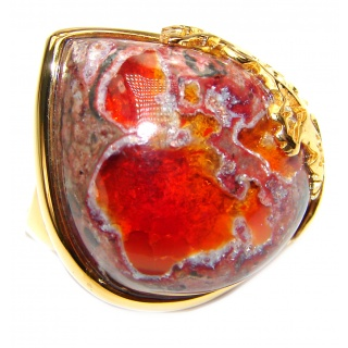 ELECTRIFIED TIDEPOOL Mexican Opal 18K Gold over .925 Sterling Silver handcrafted Ring size 8 1/2