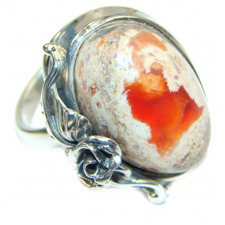 """Magical Aura"" Mexican Opal .925 Sterling Silver handcrafted Ring size 7 adjustable"