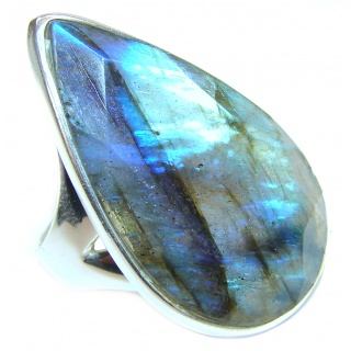 Silky faceted Fire Labradorite 2 tones .925 Sterling Silver handmade ring size 7 adjustable