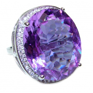 Huge Precious Alexandrite .925 Sterling Silver Statement HUGE Ring s. 6 1/4