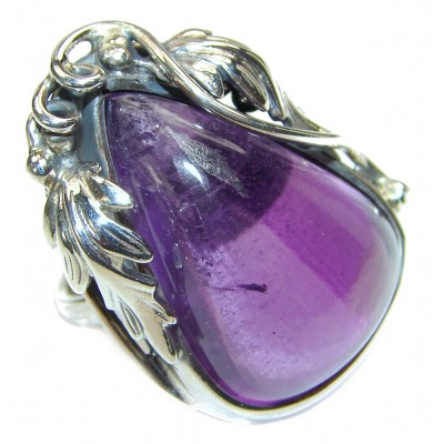 Authentic 65ctw Amethyst .925 Sterling Silver brilliantly handcrafted ring s. 8 adjustable