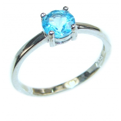 Melissa Genuine Swiss Blue Topaz .925 Sterling Silver handcrafted Ring size 8