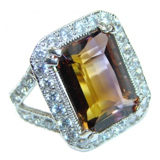 LUXURY emerald cut Ametrine .925 Sterling Silver handcrafted Ring s. 6 3/4