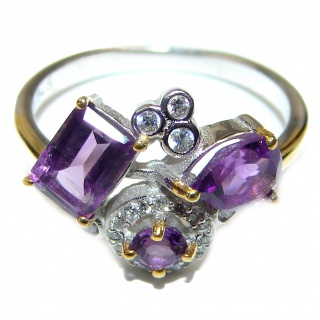 Bouquet of Flowers Authentic Amethyst .925 Sterling Silver handmade Ring s. 8
