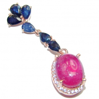 Authentic Kashmir Ruby rose gold over .925 Sterling Silver Pendant