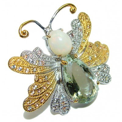Large Chunky Butterfly Green Amethyst 18K gold over .925 Sterling Silver handcrafted ring s. 8 1/4
