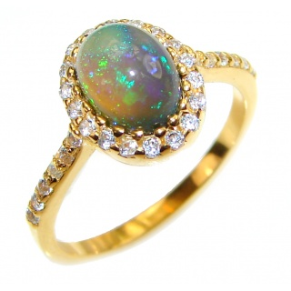 Vintage Design 0.9ctw Genuine Black Opal .925 Sterling Silver handmade Ring size 5 1/2