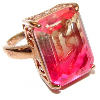 Huge Top Quality Pink Tourmaline color Topaz .925 Sterling Silver handcrafted Ring s. 6 1/4