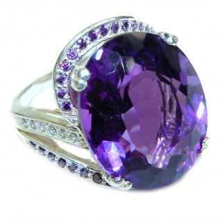 24ctw Purple Perfection Amethyst .925 Sterling Silver Ring size 5 3/4
