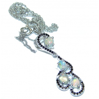Awesome Natural Ethiopian Opal Sapphire .925 Sterling Silver Necklace
