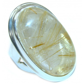 Best quality Golden Rutilated Quartz .925 Sterling Silver handcrafted Ring Size 7 adjustable